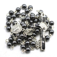 Fashion hematite bead catholic rosary, St Benedict connectors, center piece, and crucifix cross(China)