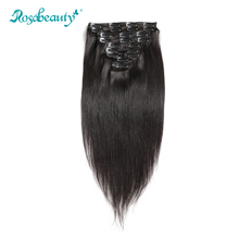 Rosabeauty Brazilian Straight Clip In Hair Extensions 140G/set 100% Human Hair Remy Hair 10Pcs/set Natural Color(China)