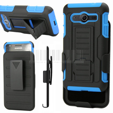 Heavy Duty Shockproof Hybrid Holster Impact Armor Stand Hard Case+Belt Clip For Samsung Galaxy Core 2 G355