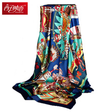 135*135cm Square Silk Scarf 100% Pure Silk Scarves Echarpes Foulard Bandana Girls Winter Luxury Brand Face Mask Scarf Hijabs(China)