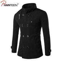 Phanteen Autumn Double Breasted Man Wool Coat Stand Collar Slim Fit Pea Jacket Casual Business Trench Fashion Men Brand clothing