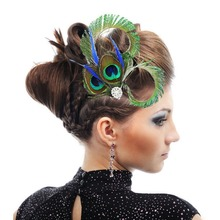 Hair Accessories Elegant Lady Feather Fascinator Hair Clips for Wedding Church Party Charm Ethnic Jewelry For Women(China)
