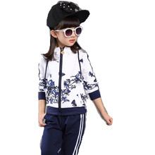 2016 Brand Girls Autumn Spring Print Flower Sport Wear Cotton Clothing Set Long Sleeve+ Pants Girl School Christmas Clothing Set(China)