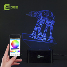 CNHIDEE USB Novelty Music Lamp Light Imperial Walker AT-AT Star Wars Table Light LED Bulbing Lamp 3D Engraving Led Luz de Noche(China)