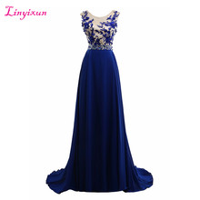 Linyixun Real Photo Royal Blue Chiffon Prom Dresses 2017 Elegant Long Sexy Beaded Cheap Formal Long Evening Party Dresses