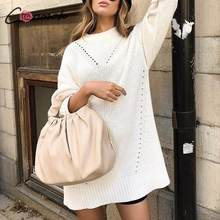 Conmoto Women Autumn Winter Sweater Dress 2019 Fashion White Knitted Short Dress Female Long Sleeves Long Sweaters Mujer Chic(China)