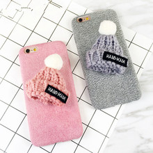 Christmas Korea Cute Warm Wool Hat Case For iPhone 7 6 6S Plus Phone Case  Plush Cloth Protection Knitted Gift Cover