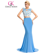 2017 New Micro Fiber Long Evening Dress Grace Karin Two Piece Set Mermaid Evening Gown Flowers Beading Sexy Blue GK000049