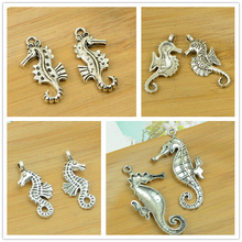 alloy pendant antique silver diy jewerly finding accessories seahorse ocean animal charm bracelet necklace choker free shipping(China)