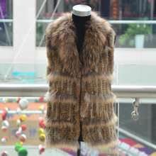 New! 2014 hot sale women knitted rabbit fur with raccoon dog fur collar fur vest natural brown color