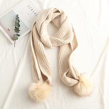 Korean style autumn winter knitted chenille scarf students warm cute little fresh hanging scarf women(China)