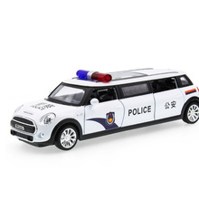 2017 Hot sell 1:32 Police Limousine Diecast Alloy Metal Luxury Car Model Collection Model Pull Back Toys Car Gift For Boy(China)