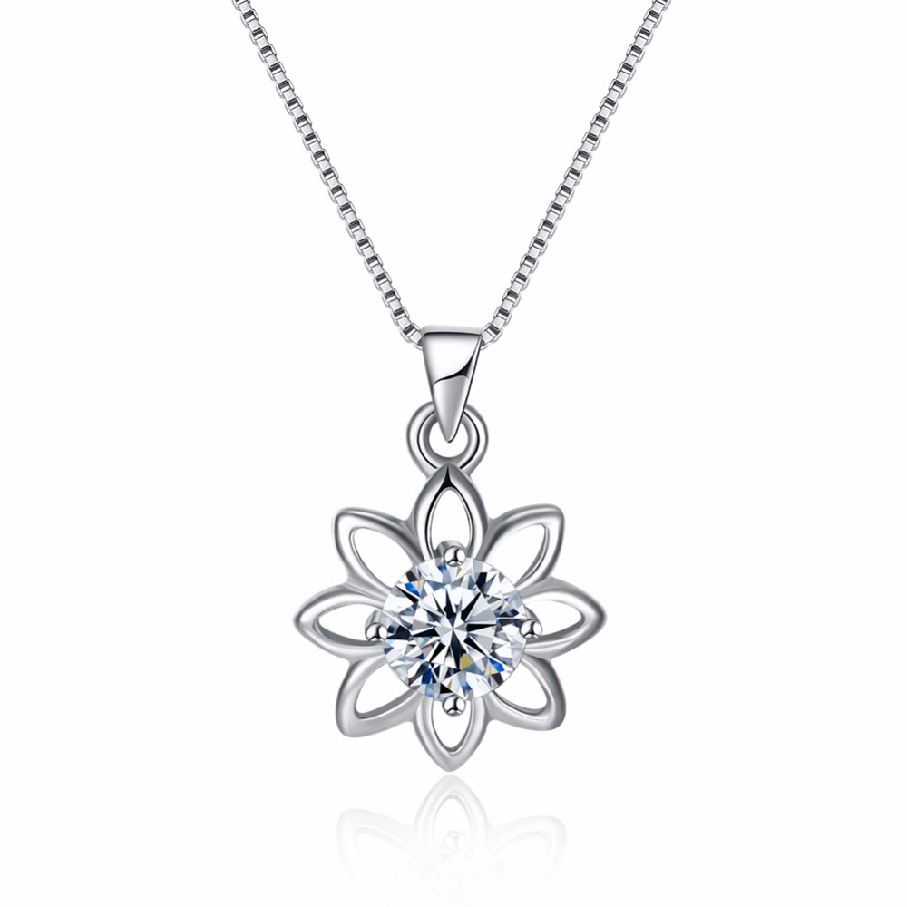 100% 925 Sterling Silver Necklace for Women AAA Cubic Zirconia Hollow Sun Flower Pendant Necklace Women Fashion Jewelry Gift(China)