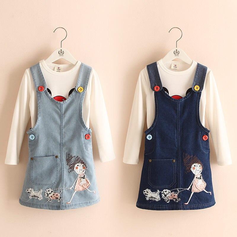 2017 Autumn Fashion Korean  ChildrenS Clothing Girls Long-Sleeve Carton Twinset Denim Skirt+Tshirt  Free Shipping<br><br>Aliexpress
