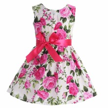 Floral Cotton Children Toddler Girls Dress Beach Summer 2017;Casual Glower Princess Teenage Kids Dress Girl bebe Vestido Party(China)