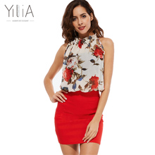 Yilia Summer 2017 Rose Floral Chiffon Dress Women Dresses Vintage Bodycon Vestido Sexy Sleeveless Halter Red Black Party Dresses