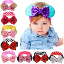 2017 Fashion Newborn Baby Coll Brilliant Lovely Bow Cartoon Elasticity Headband Baby Girls Hair Accessories for Children KT007(China)
