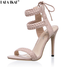 LALA IKAI Cross Strap Women Sandals 2017 Summer Gladiator Sandals Women Sandals Slingback 2 Colors Size 36-41 XWB0174-5(China)