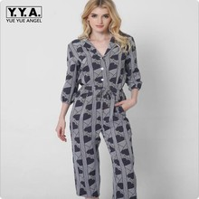 European Fashion V Neck Three Quanter Sleeve Loose fit Rompers Womens Jumpsuits Momo Print Floral Leisure Leotard Sashes Plus SZ