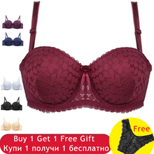Buy 1/2 Cup Sexy Bow Lace Bra Super Push Bras Women Fashion 6 Colors Underwire Lingerie Floral Bralette Gather Brassiere