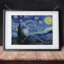 Van Gogh Starry Night Canvas Art Print Painting Poster Wall Pictures For Living Room Home Decoration Decor No Frame(China)