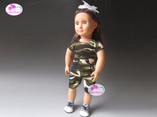 Fashion camouflage clothing dress sneakers Shoes for 45cm American girl(China)