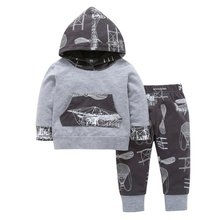 2018 Winter New Arrival Children Clothes Boys 2 Pieces Set Outfit Sport Stylish Cotton Print Hoodies Pullover Coat + Pants(China)