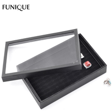 FUNIQUE Women Fashion Rings Jewelry Boxes Packaging Display Black Paper Fabric Rectangle Jewelry Carrying Case 2017 High Quality