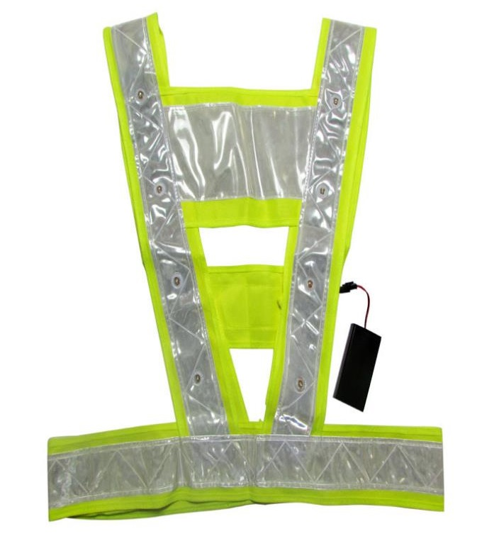 LED Reflective Safety Warning Fluorescent Yellow Breatable Mesh Vest <br>