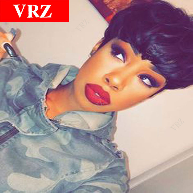 Short Straight None Lace Human Hair Wigs Brazilian Hair Glueless Full Lace Front Pixie Human Hair Wigs For Black Women<br><br>Aliexpress