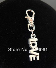 Vintage Silver Alphabet PETITE CUTE LOVE Clasp Key Chain For Keys Car Key Ring Souvenir Couple Handbag Jewelry 100PCS P325(China)