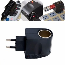 Free Shipping AC To 12V DC Car Cigarette Power Adapter Converter Lighter 100V-240V EU Plug(China)