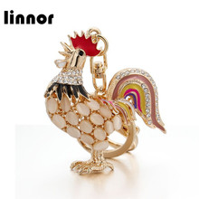 Linnor Cute Moonstone Opal Chicken Cock Rooster Key Chains Gold Metal Rhinestone Keyring Keychain chaveiro llavero bijuteria