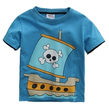 Summer Kids T Shirt Boys Cool Pirate Ship Tops Short Sleeve Baby Boys T Shirts Casual Clothes Cotton Tshirt For Boys 18M-6T