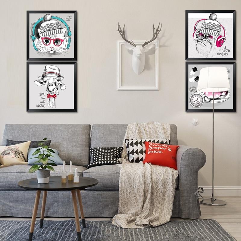 BANMU Modern Minimalist Nordic Kawaii Cartoon  Animals Large Art Prints Poster Kids Room Home Decor Wall Picture Canvas Painting