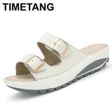 TIMETANG New Summer women sandals buckle genuine leather platform shoes rubber outsole woman soft beach sliders wedges sandals(China)