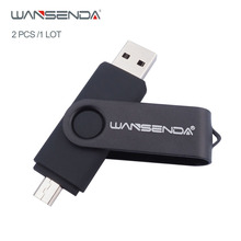 Wansenda USB2.0 OTG USB flash drive 4GB 8GB 16GB 32GB 64GB 128GB for Smart Phone Tablet PC Pendrives Real Capacity 2pcs/1Lot