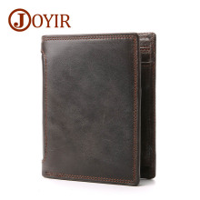 JOYIR New Man Wallets Genuine Leather Men Short Wallet Purse Card Holder Coin Purse Vintage Male Husband Wallets New Year Gift(China)