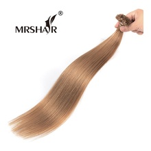 "MRSHAIR 27# Light Brown Hair On Capsules 1g/pc U Tip Human Hair Straight Non Remy Hair Pre Bonded Hair Extensions 16"" 20"" 24""(China)"