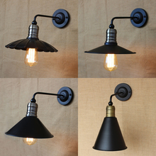 4 styles metal lampshade retro wall lamp industrial indoor lighting fixture bedside Hotel restaurant aisle balcony wall sconce