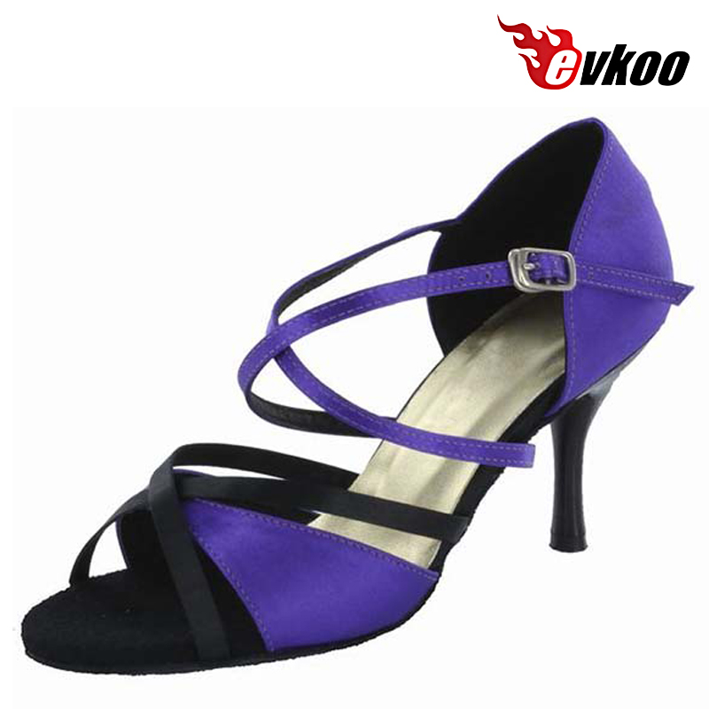 Woman Latin Salsa Women Shoes With 8.3Cm High Heel Noble Purple Color Hot Sale Tango Dance Shoes Evkoo-245<br>