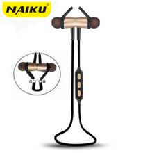 2017 NAIKU Bluetooth Headset Metal Magnetic Wireless Stereo Headphones with Mic Sport Running Apt-X HD Music Bluetooth earphone