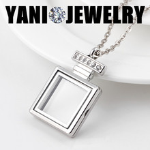 5PCS Fashion Rhinestone Perfume Bottle Floating Locket Charms Pendant Magnetic Glass Living Memory Locket with Chains