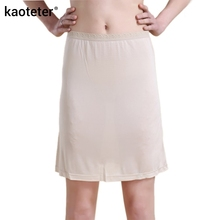 100% Pure Silk Women's Half Slips Femme Underskirt Sexy Lace Waist Elastic Women Casual Long Slip Lady Petticoat Woman Chemise(China)