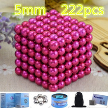 Pink 216pcs 5mm Buck yballs Neo cube Puzzle Magnetic Magnet Balls Spacer Beads neodymium spheres beads magic cube  Xmas gift Box