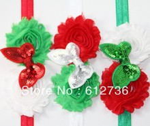 30pcs/lot Red Green and White Chic Flowers Sequin Bow FOE Headband, Elastic Headband Hair Accessories Free Shipping(China)