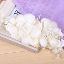 Fashion Headband Handmade Wedding Tiara white Voile Flower Comb Bridal Hair Accessories Women Beach Holiday Evening party gift