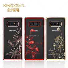 Original Kingxbar For Samsung Galaxy Note 8 Top Quality Electroplated Hard PC With Crystals from Swarovski Rhinestone Case Cover