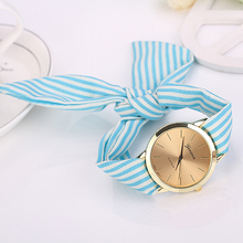 Popular Personalized Girl's Geneva Striped Scarf Band Dial Analog Quartz Navy Style Wrist Watch NO181 5V1J