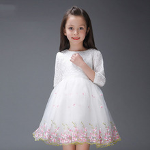 lace flower girl dresses pink off white party and wedding princess costume autumn toddler girls clothing  8 kids clothes girls